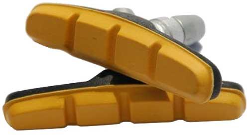 Тормозные колодки под V-brake c болтом, L-70 мм, 1 пара, черный/желтый