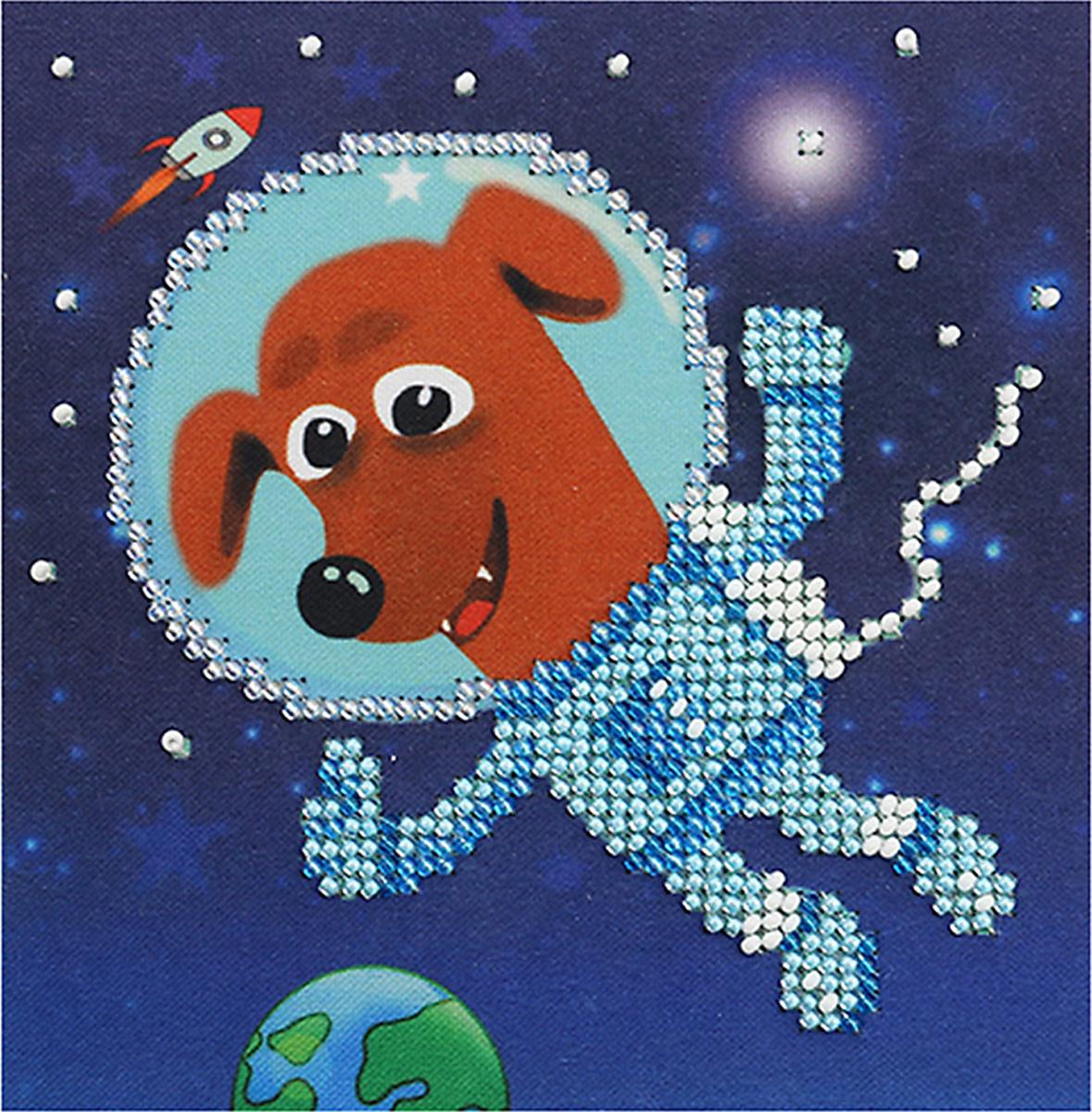 Набор для вышивания бисером Бисеринка В открытом космосе, 12 х 12 см набор для вышивания бисером бисеринка под зонтиком 12 х 12 см