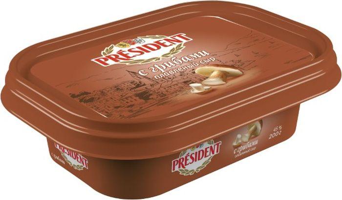 President Сыр с Грибами, плавленый 45%, 200 г president сыр с пряными травами плавленый 45% 200 г