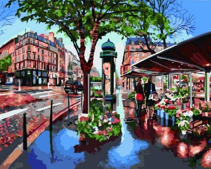 Набор для рисования по номерам Цветной Цветочная лавка в Париже, 50 х 40 см наборы для рисования лавка чудес набор для раскрашивания надувной игрушки лошадка