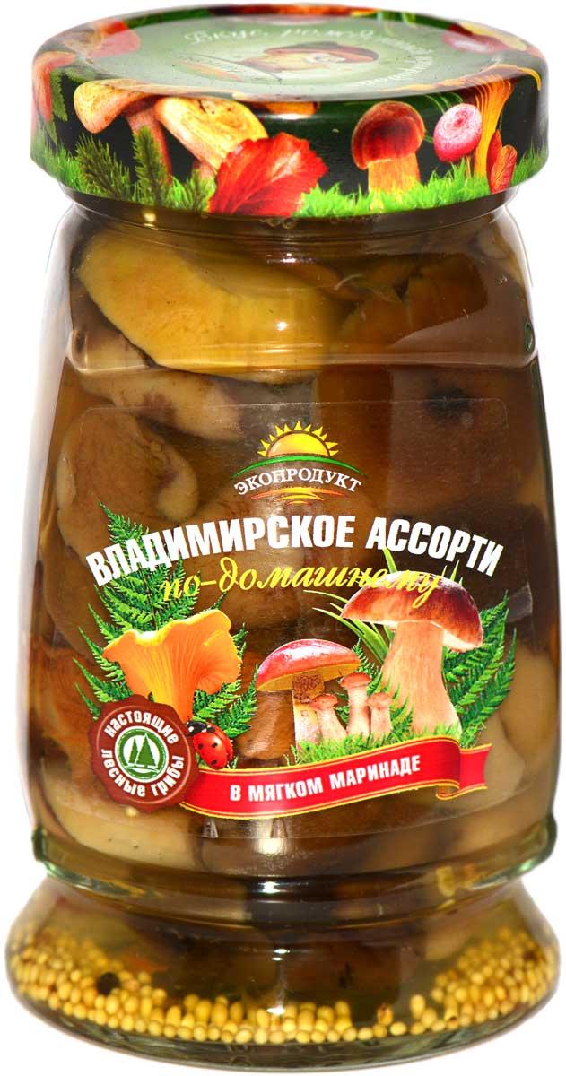 все цены на Грибы маринованное Владимирское ассорти по-домашнему Экопродукт, 340 г онлайн