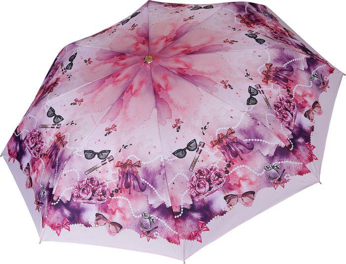 Зонт женский Fabretti, автомат, 3 сложения, цвет: розовый. L-18120-4 зонт trust 30475 20 женский полный автомат