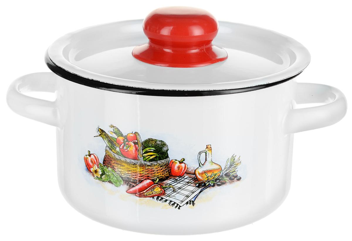 Кастрюля эмалированная СтальЭмаль Корзина с овощами с крышкой, 1,5 л кастрюля эмалированная эмаль с крышкой 5 5 л