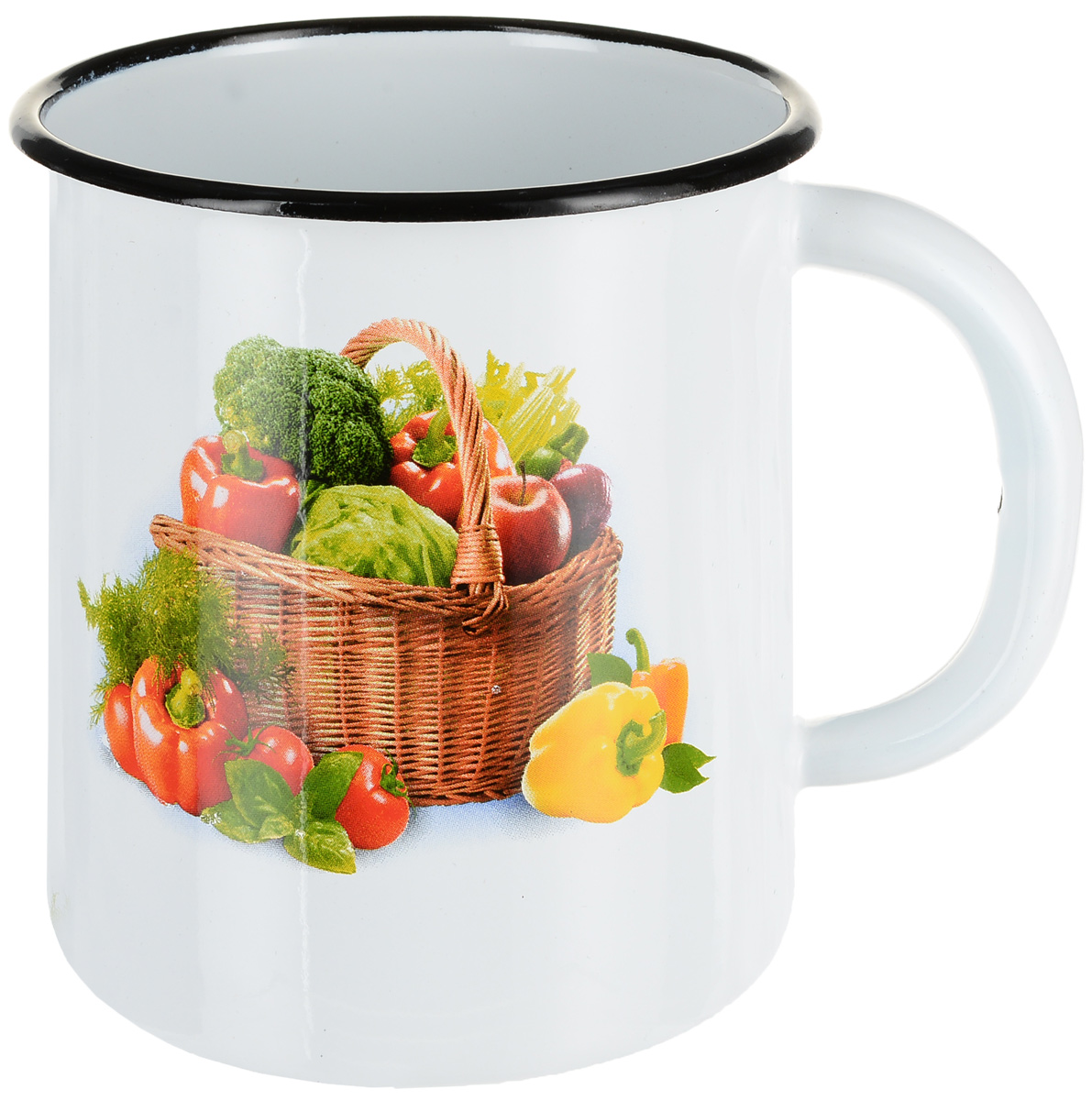 Кружка эмалированная СтальЭмаль Овощи, цвет: белый, 1 л кружка эмалированная стальэмаль клубника 1 л