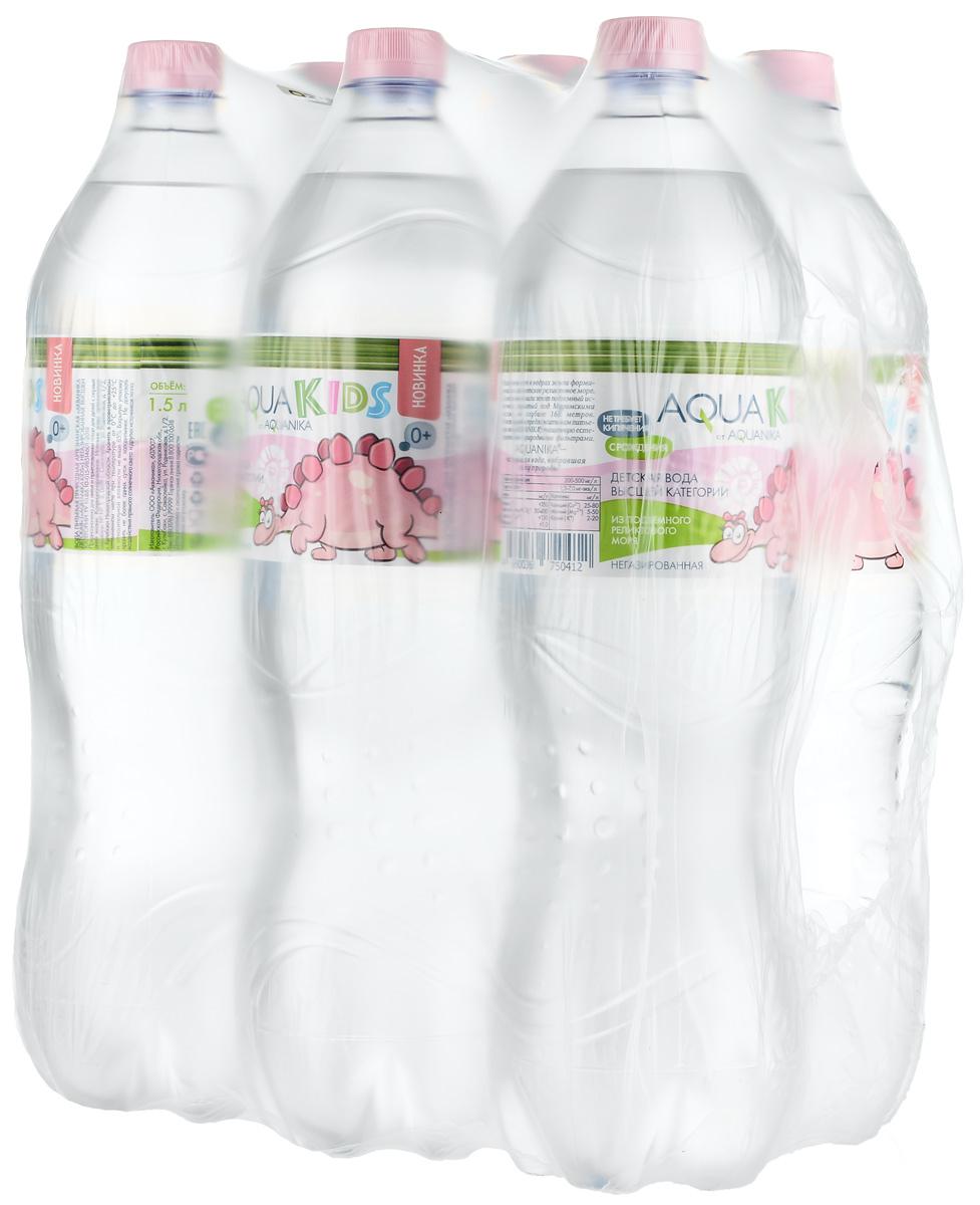 Вода AquaKids детская питьевая с рождения, розовая, 6 шт по 1,5 л вода сказочный лес питьевая детская 12 шт по 0 4 л