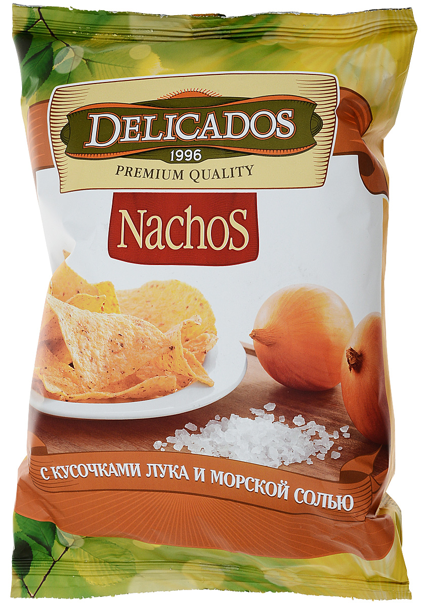 Чипсы кукурузные Delicados Nachos, лук морская соль, 75 г чипсы кукурузные delicados nachos оригинальные 75 г