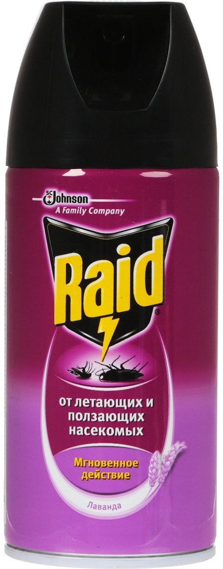 Аэрозоль от ползающих и летающих насекомых Raid Лаванда, 300 мл от клопов что помогает