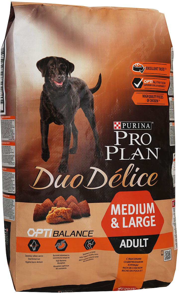 """Корм сухой Pro Plan """"Duo Delice Adult"""", для собак крупных и средних пород, курица с рисом, 10 кг"""