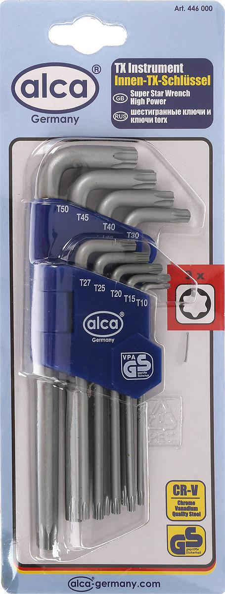 Набор ключей-звездочек Alca High Power, шлиц вида Torx, 9 шт набор ключей шестигранных kraft professional torx т10 т50 9 шт