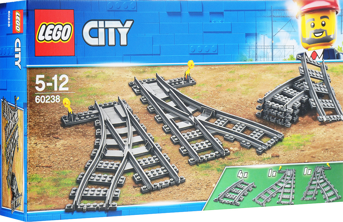 LEGO City Trains 60238 Железнодорожные стрелки Конструктор lego city рельсы 60205