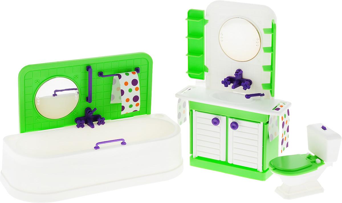 Sima-land Мебель для кукол Ванная комната Конфетти цвет зеленый белый