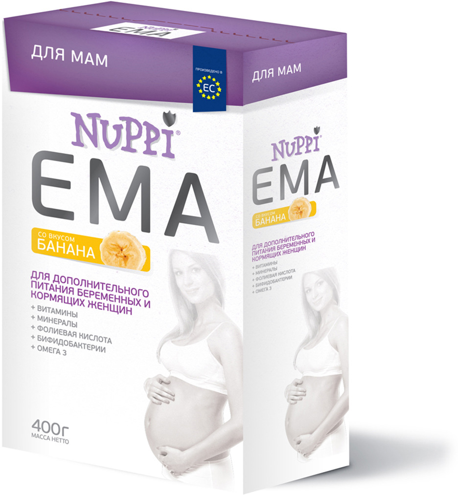Nuppi Эма смесь для беременных и кормящих матерей со вкусом банана 400 г витамины для беременных с dha