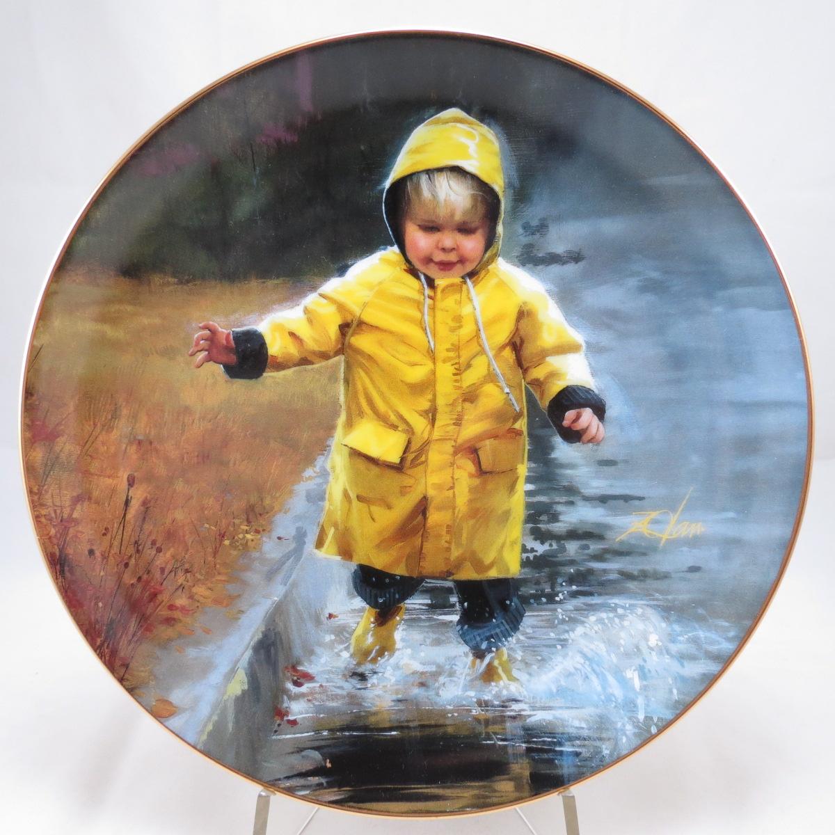 """Декоративная коллекционная тарелка """"Чудеса Детства: Маленький любитель поплескаться"""". Фарфор, деколь, золочение, США, Дональд Золан, Danbury Mint, 1999"""