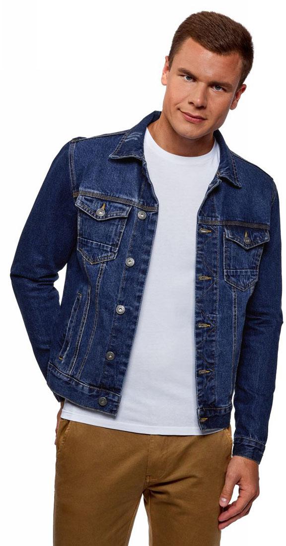 Куртка мужская oodji Basic, цвет: синий джинс. 6B300000M/35771/7500W. Размер XL (56)6B300000M/35771/7500WКуртка джинсовая с потертостями