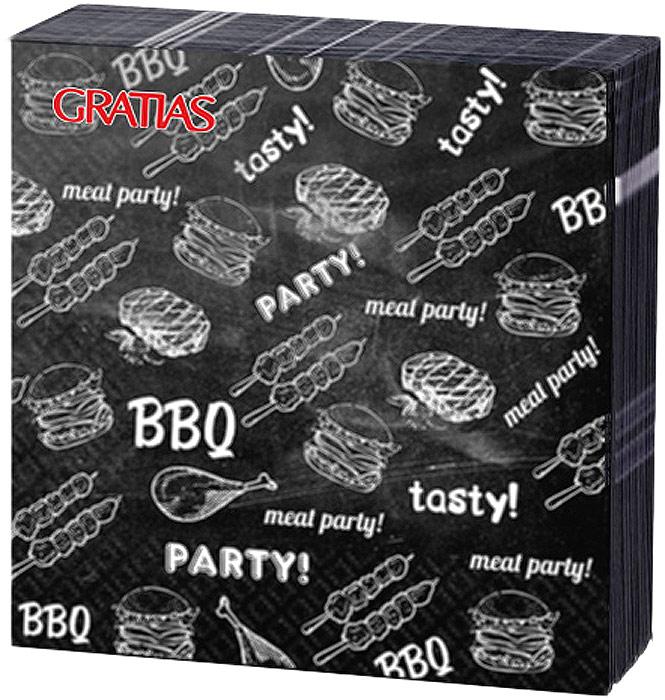 Салфетки бумажные Gratias BBQ Party, трехслойные, 24 х 24 см, 20 шт салфетки бумажные gratias мишутка трехслойные 33 х 33 см 20 шт