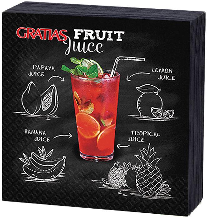 Салфетки бумажные Gratias Fruit Juice , трехслойные, 24 х 24 см, 20 шт салфетки бумажные gratias барбекю трехслойные 33 х 33 см 12 шт