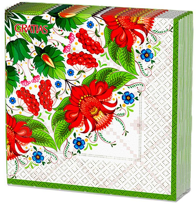 Салфетки бумажные Gratias Летняя сказка, трехслойные, 33 х 33 см, 20 шт салфетки бумажные gratias мишутка трехслойные 33 х 33 см 20 шт
