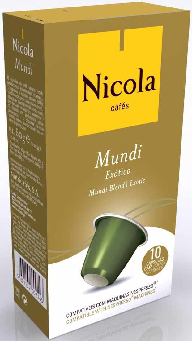 Кофе молотый Nicola Mundi Exotico, в капсулах, 10 шт5601132002389Смесь 100% Арабики тёмной обжарки с нотками цитруса и шоколада. Кофе Никола является вторым самым продаваемым кофе в Португалии, где он конкурирует с более чем 2000 отечественных и некоторых зарубежных брендов. Традиция марки Никола восходит к 1779 году, что делает ее старейшей маркой кофе в Европе. Португальский кофе - кофе № 1 в мире !