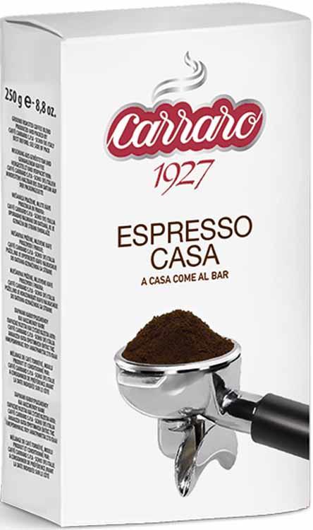 Кофе молотый Caffe Carraro Espresso Casa, 250 г melitta кофе bellacrema espresso молотый со стеклянной сахарницей в подарок 250 г