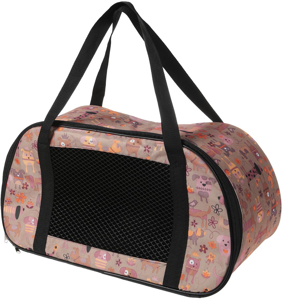 Сумка-переноска для животных Теремок, цвет: бежевый, 56 х 28 х 30 см переноска теремок сумка переноска для животных трапеция 28 30 53 см темно зеленый