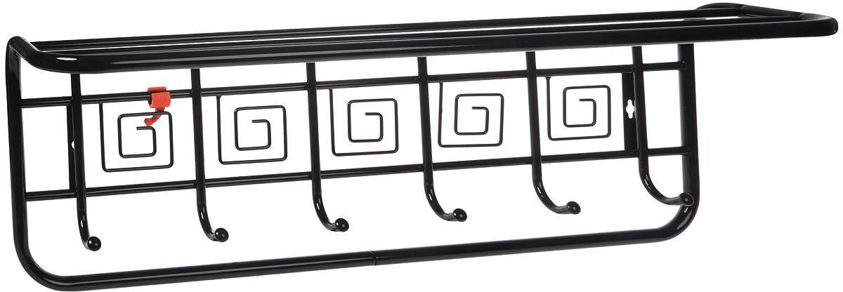 Вешалка настенная ЗМИ Узор Квадраты, с полкой, 7 крючков, черный, 72,5 х 22 х 26,5 см вешалка настенная sheffilton с полкой 7крючков 885х275х280мм черная