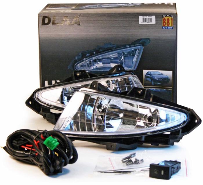 Фара противотуманная Dlaa HY-261 W, Hyundai Elantra/Аvante 2007-, H27 (881),12 V, 55 W usb перезаряжаемый высокой яркости ударопрочный фонарик дальнего света конвой sos факел мощный самозащита 18650 батареи