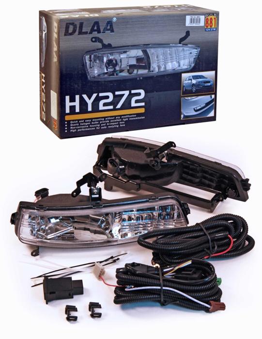 Фара противотуманная Dlaa HY-272 W, Hyundai Accent/Verna 2006-, H27 (881) usb перезаряжаемый высокой яркости ударопрочный фонарик дальнего света конвой sos факел мощный самозащита 18650 батареи
