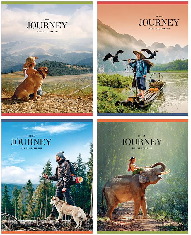 """Набор тетрадей """"Life is a journey"""", А5, 48 листов в клетку, 5 шт"""