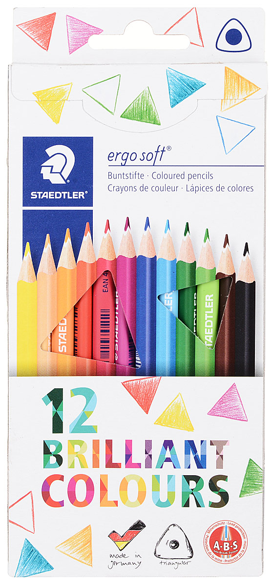 Staedtler Набор цветных карандашей Ergosoft 157 12 цветов157С1210Набор цветных карандашей Ergosoft состоит из 12 карандашей ярких и насыщенных цветов. Карандаши имеют округло-треугольный корпус, они очень эргономичны и имеют прочный грифель. Яркие цвета и превосходное качество порадуют и детей и родителей. Уважаемые клиенты! Обращаем ваше внимание на то, что упаковка может иметь несколько видов дизайна. Поставка осуществляется в зависимости от наличия на складе.