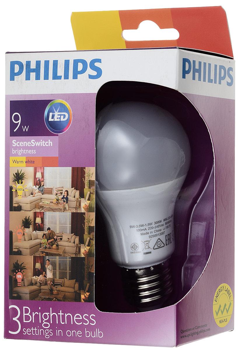 "Лампа светодиодная Philips ""Scene Switch"", цоколь E27, 9W, 3000К"