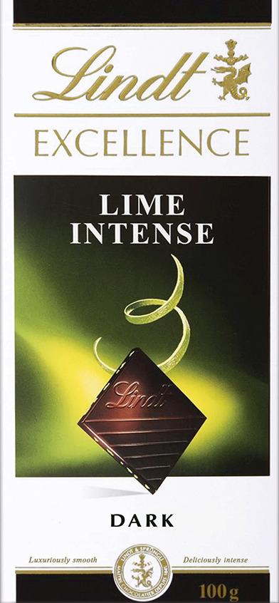 Lindt Excellence темный шоколад с лаймом, 100 г шоколад lindt excellence малина 100г