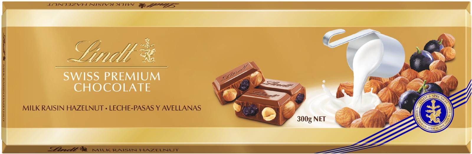 купить Lindt Gold молочный шоколад с изюмом и цельным фундуком, 300 г недорого