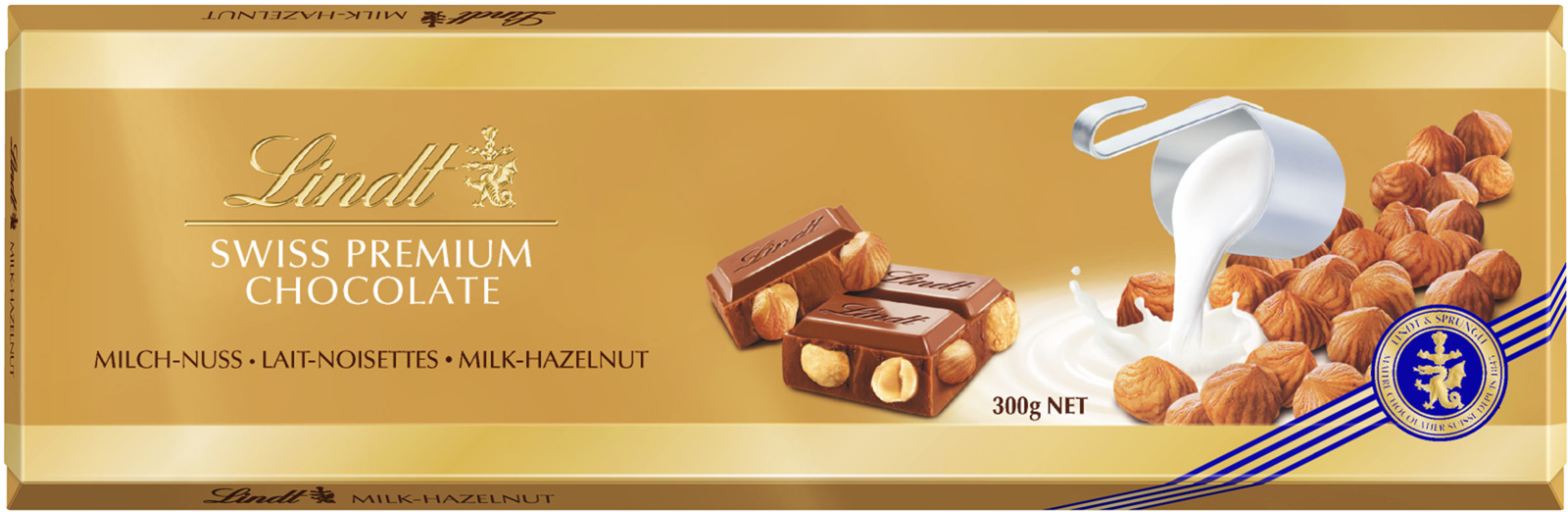 Lindt Gold молочный шоколад с цельным фундуком, 300 г шоколад lindt lindor молочный 200г