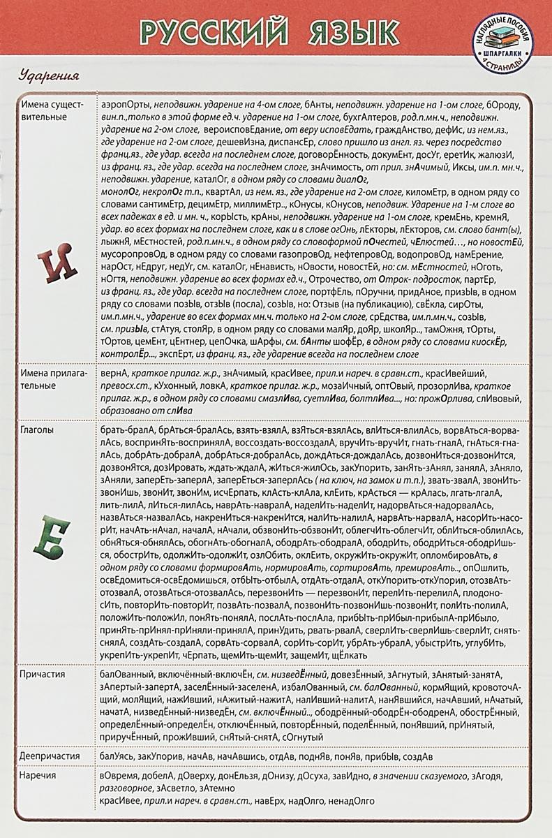 Русский язык. Шпаргалка
