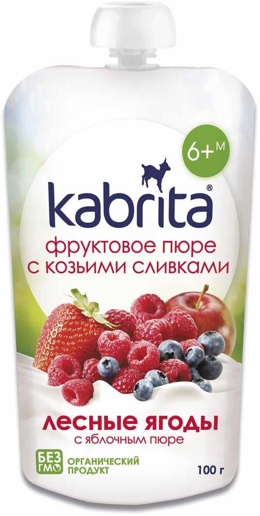 Kabrita Лесные ягоды с яблочным пюре фруктовое пюре с козьими сливками для детей, 100 г цена