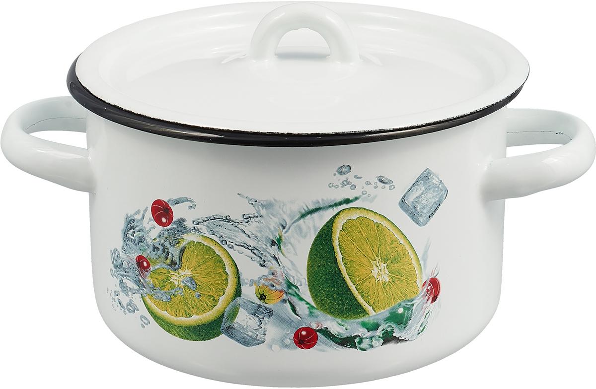 Кастрюля эмалированная СтальЭмаль с крышкой, Лимон, 1,5 л кастрюля эмалированная myron cook с крышкой 3 л