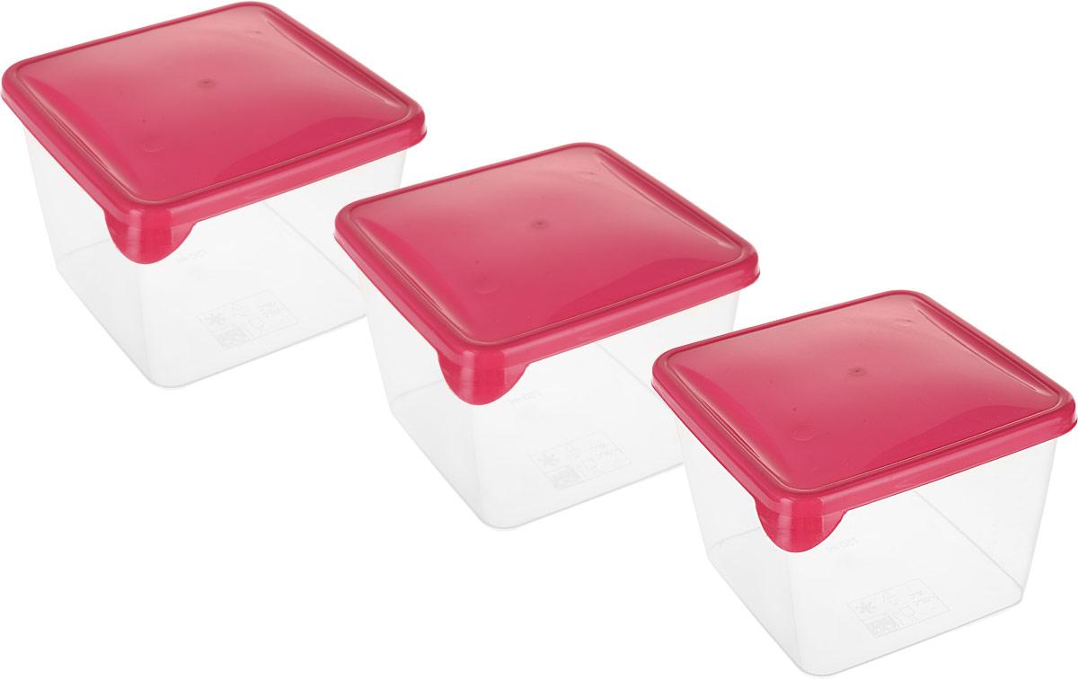 Комплект емкостей для продуктов Giaretti Браво, цвет: прозрачный, красный, 750 мл, 3 шт емкость для продуктов giaretti браво цвет белый прозрачный 900 мл gr1068