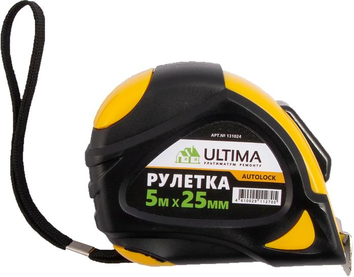 Рулетка Ultima AutoLock, обрезиненный корпус, автоматическая фиксация, 5 м х 25 мм цены