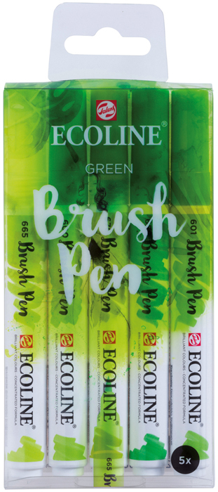 Набор маркеров Royal Talens Ecoline, зеленые цвета, 5 шт