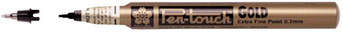 Маркер Sakura Pen-Touch, тонкий стержень 0.7 мм, цвет: золотой