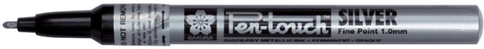 Маркер Sakura Pen-Touch, средний стержень 1.0 мм, цвет: серебряный
