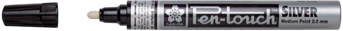 Маркер Sakura Pen-Touch, толстый стержень 2.0 мм, цвет: серебряный
