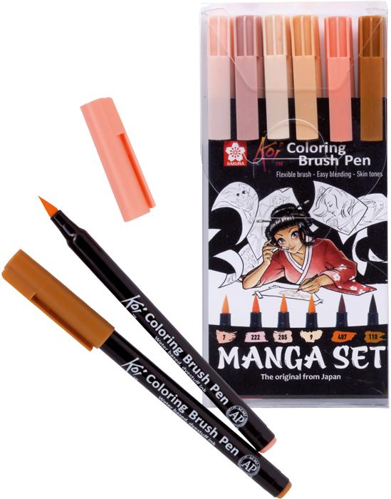 Набор маркеров акварельных Sakura Koi Manga, 6 шт