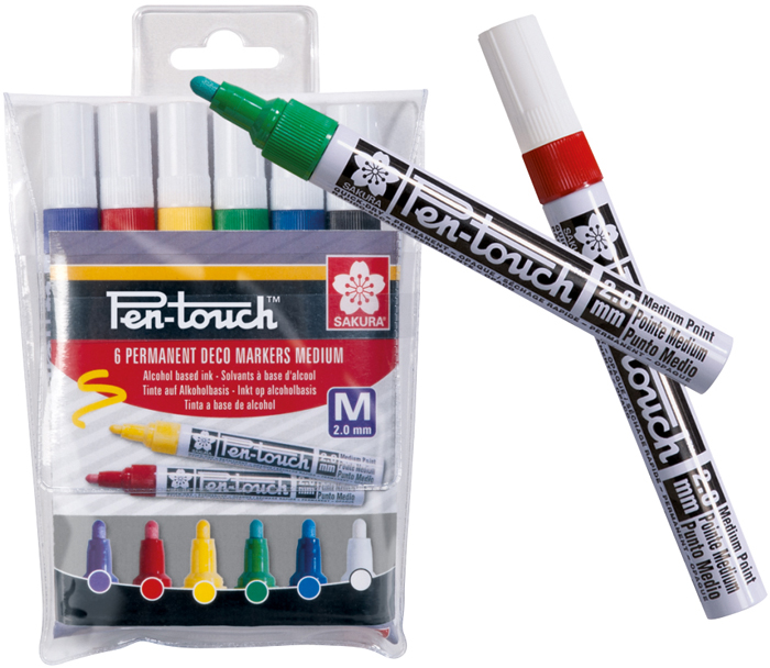 Набор маркеров Sakura Pen-Touch, средний стержень, 6 шт