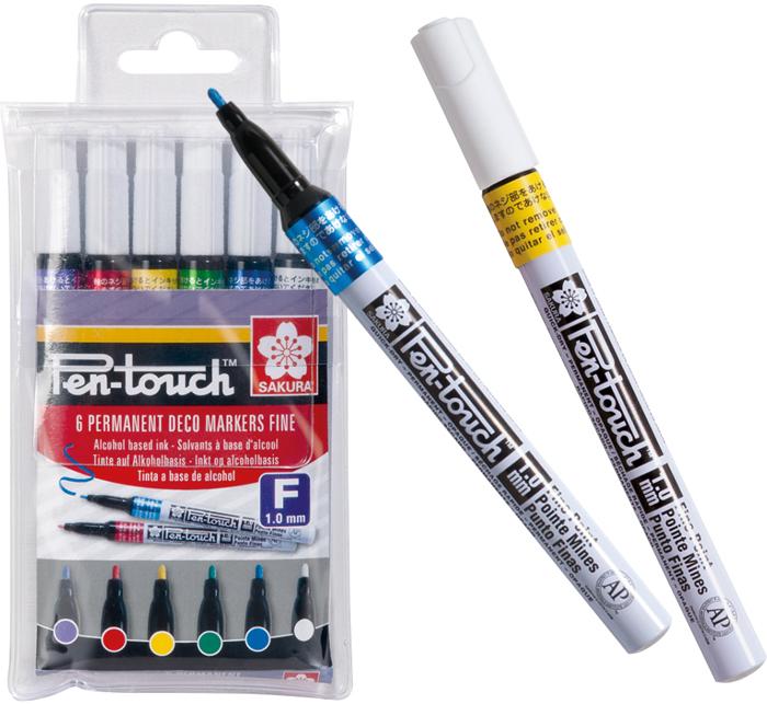 Набор маркеров Sakura Pen-Touch, тонкий стержень, 6 шт
