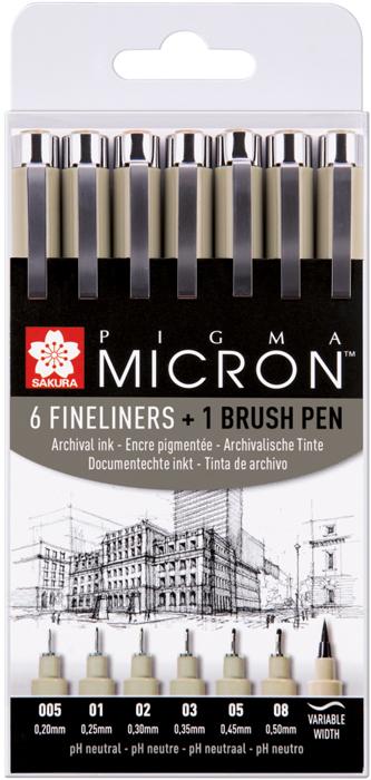 Набор капиллярных ручек Sakura Pigma Micron, цвет чернил: черный, 6 шт + Ручка Pigma Brush, цвет чернил: черный touch набор капиллярных ручек liner цвет чернил черный 7 шт
