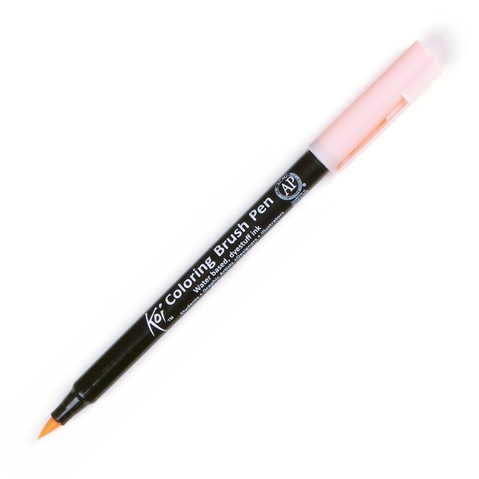 Маркер акварельный Sakura Koi, цвет: №7 оранжевый бледныйXBR#7Акварельные маркеры-кисти Koi являются прекрасной альтернативой классическим акварельным краскам и кистям. Чернила на водной основе, без запаха, хорошо смешиваются между собой, образуя новые оттенки. При использовании блендера можно добиться плавного перехода цвета и создать идеальный градиент. В зависимости от нажима на гибкую нейлоновую кисточку можно нарисовать тонкие, средние или широкие линии. Наконечник очень прочный и упругий, поэтому быстро возвращается к изначальной форме. Все маркеры Koi имеют маркировку AP (Approved Product) института ACMI, что означает отсутствие в составе чернил вредных веществ.