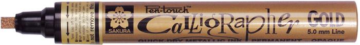 Маркер Sakura Pen-Touch Calligrapher, толстый стержень 5.0 мм, цвет: золотой