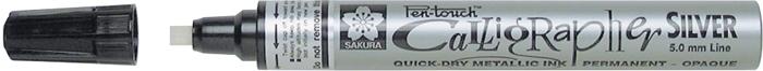 Маркер Sakura Pen-Touch Calligrapher, толстый стержень 5.0 мм, цвет: серебряный