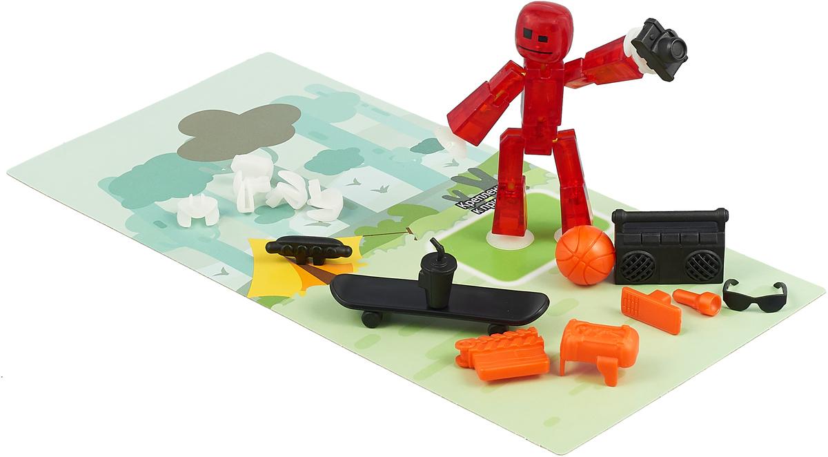 Фигурка с аксессуарами Stikbot Стиль жизни, цвет: красный, оранжевый